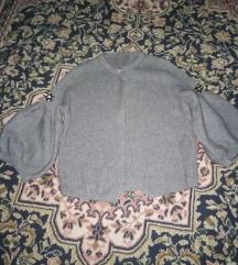 Sivi kardigan džemper