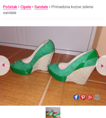 NOVO Zelene kožne sandale