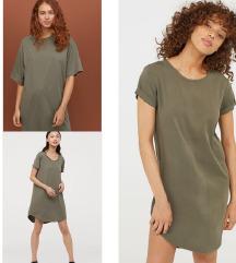 Nova H&M maslinasta majica haljina