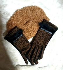 Animal print sa pravim krznom NOVE rukavice i kapa