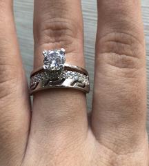 Dupli prsten sa kristalom