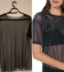 Crna mrezasta providna bluza
