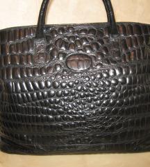 Crna kožna velika torba od krokodilske kože