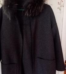 100%vuna+pravo krzno rakuna
