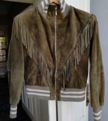 Moderna kozna jakna sa resama 36
