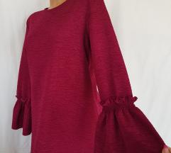 WAIKIKI ★ maxi burgund haljina zvonastih rukava