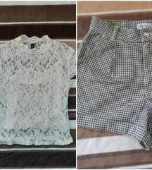 Šorc ZARA i cipkasta bluzica ZARA po jednoj ceni