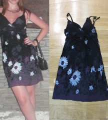 582. Letnja haljina na bretele, crno ljubicasta