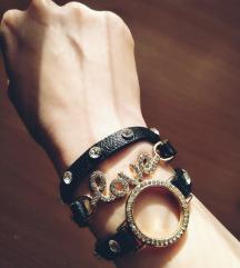 Narukvica EDGY eko koza + metal (triple bracelet)