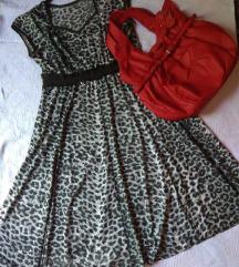 KOMPLET!Animal print haljina XL i crvena torba
