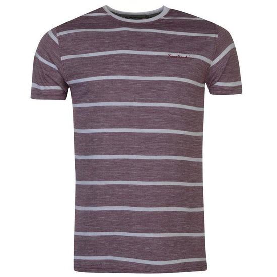 Pierre Cardin Regular Fit Slub Striped Tshirt Mens