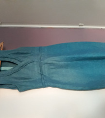 Tirkizna lanena haljina