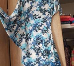 Plava cvetna majica asimetricna