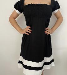 Crno bela haljina od viskoze