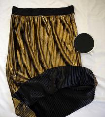 Metalik zlatna Koton midi suknja, vel. 40