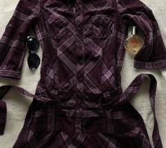 ESPRIT NOVA ljubicasta karirana haljina 38 ili M