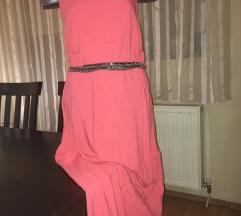Roze-narandzasta haljina sa kaisem od sljokica