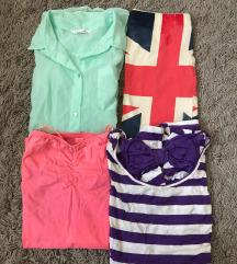 2 majice, kosulja i suknja bershka