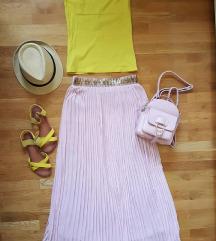 Suknja, top, sandale, ranac i sesir
