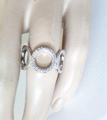 Srebrni prsten sa cirkonima, podesiv,S925