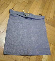H&M top ili suknja, srebrno, novo