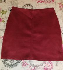 Velur bordo suknja