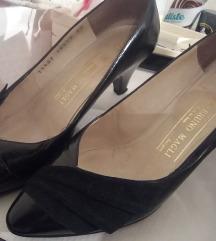 Italijanske crne cipele, salonke od kože