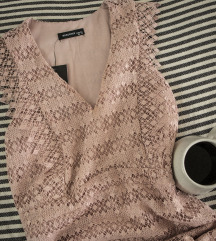 Puder roze cipkasta Reserved haljina, vel. 34