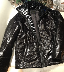 Crna pufer sjajna jakna NOVA