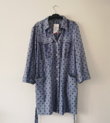 ITALY polka dot jeans košulja haljina NOVO