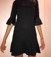 Crna haljina sa koznim karnerima i cipkom