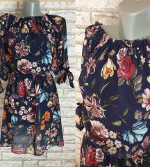 NOVA Teget cvetna haljina/tunika
