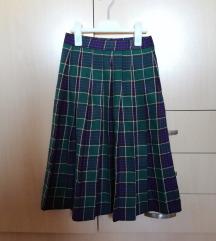 Zelena karirana - plisirana suknja