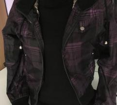 Karirana jakna za prelazni period, crno-ljubičasta