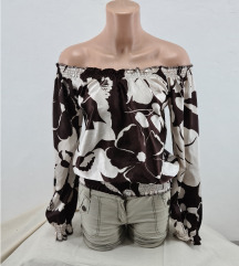 Elegantna krem braon bluza sa golim ramenima vel.S