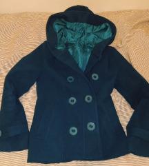 Tirkizni kratki kaput sa kapuljačom