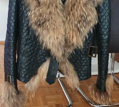 Kozna jakna sa krznom rakuna