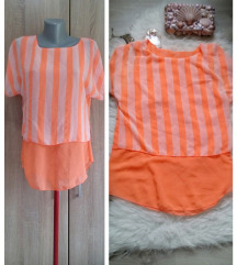 Neon narandzasta tunika prugasta iz dva dela