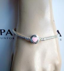 Pandora Moments Pink heart, narukvica, NOVO