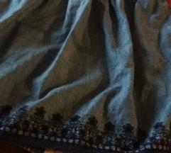Teksas suknjica ZARA basic,S/M, kao nova!