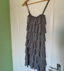 Siva svecana mini haljinica
