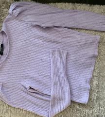 Bershka lavanda džemperić puf sleeve
