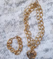 Ogrlica i narukvica u zlatnoj boji