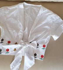 Vintage pamučna crop top bluza/ košulja