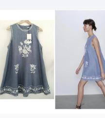 NOVA ZARA plava haljina sa etiketom