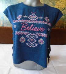 LCW plava majica sa resicama i natpisom