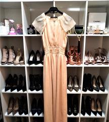 ZARA duga leprsava haljina u boji kajsije
