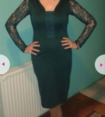 Elegantna zelena haljina sa čipkom