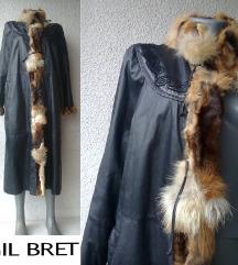 kožni mantil sa krznom br M ili L GIL BRET