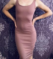 Puder roza uska haljina otvorena ledja